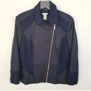 Cache Womens Blue Front Zip Moto Styled Jacket 14